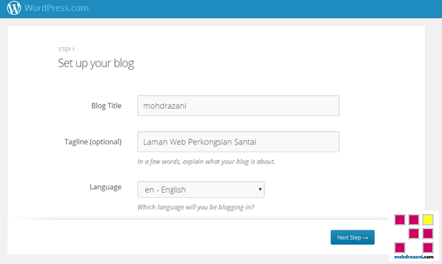 wordpress mohdrazani step3